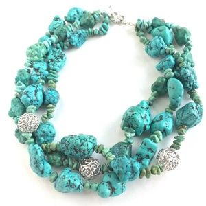 Jewelry - Chunky Real Turquoise 3 strand Necklace -Sterling